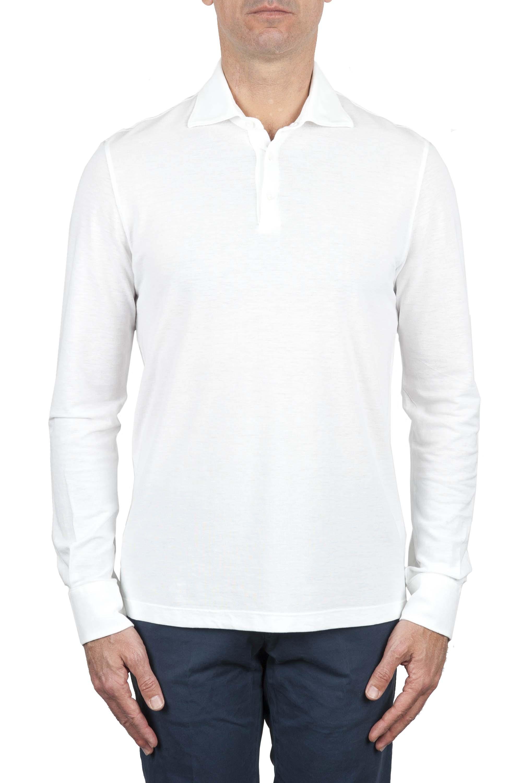 SBU 01714 Polo clásico de manga larga en crepé de algodón blanco 01