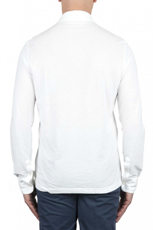 SBU 01714 クラシック長袖ホワイトコットンクレープポロシャツ 01