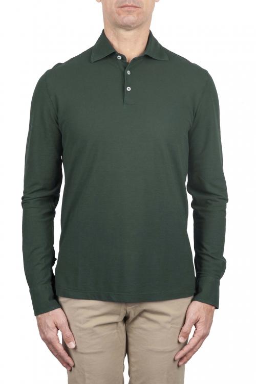 SBU 01715 Classic long sleeve green cotton crepe polo shirt 01