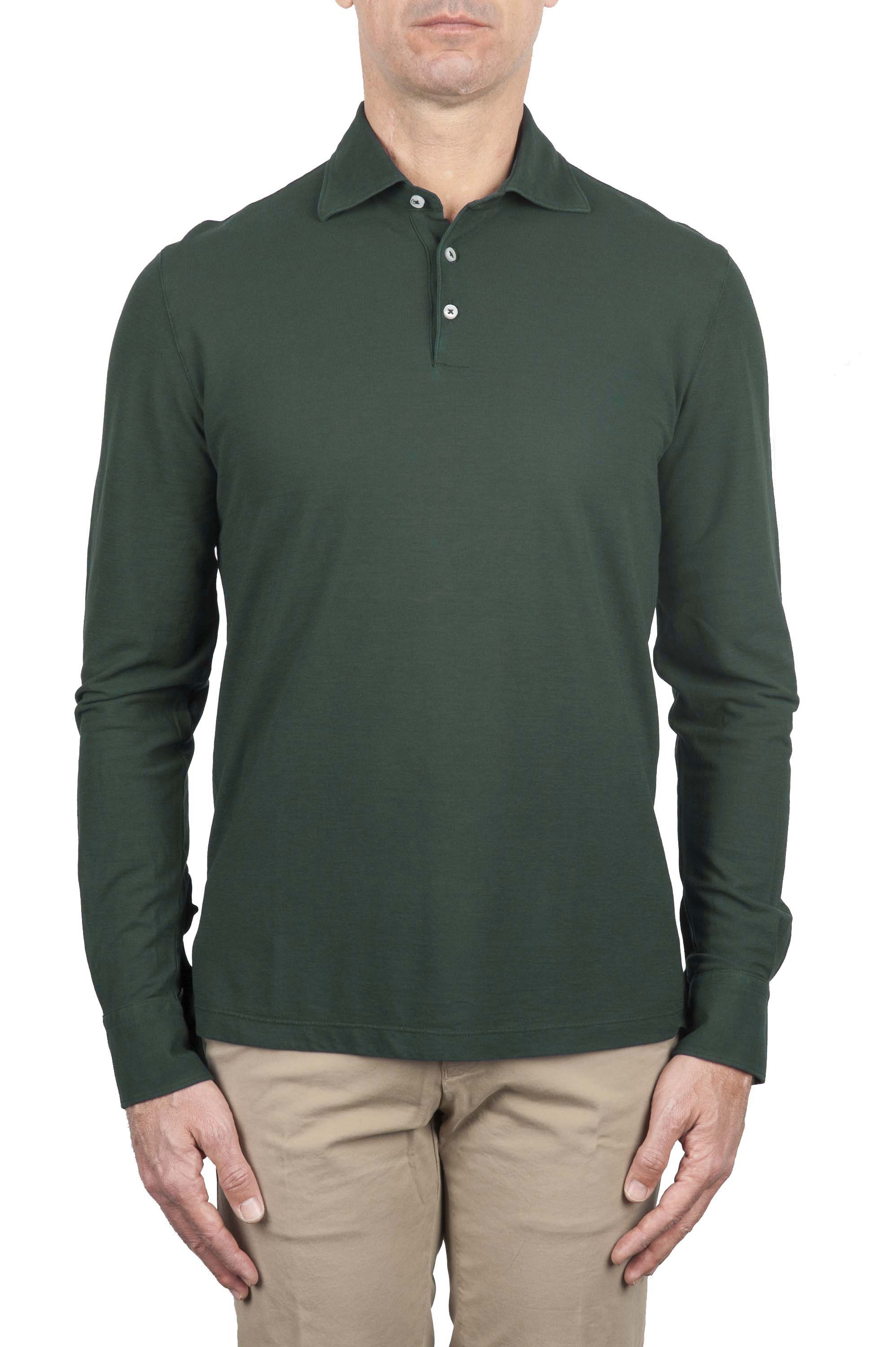 SBU 01715 Classic long sleeve green cotton crepe polo shirt 01