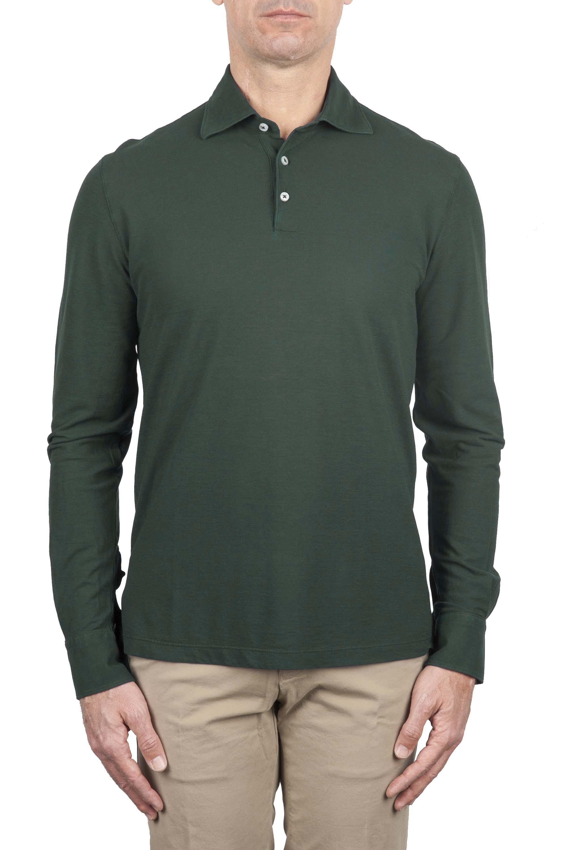 SBU 01715 Polo in crepe di cotone a maniche lunghe verde 01