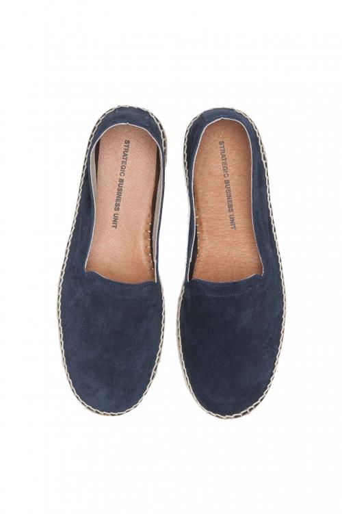 SBU 01700 Original blue suede leather espadrilles with rubber sole 01