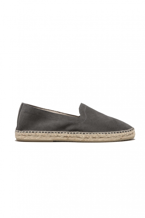 SBU 01701 Original grey suede leather espadrilles with rubber sole 01