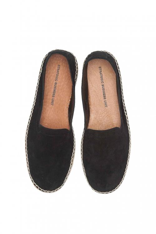 SBU 01702 Original black suede leather espadrilles with rubber sole 01