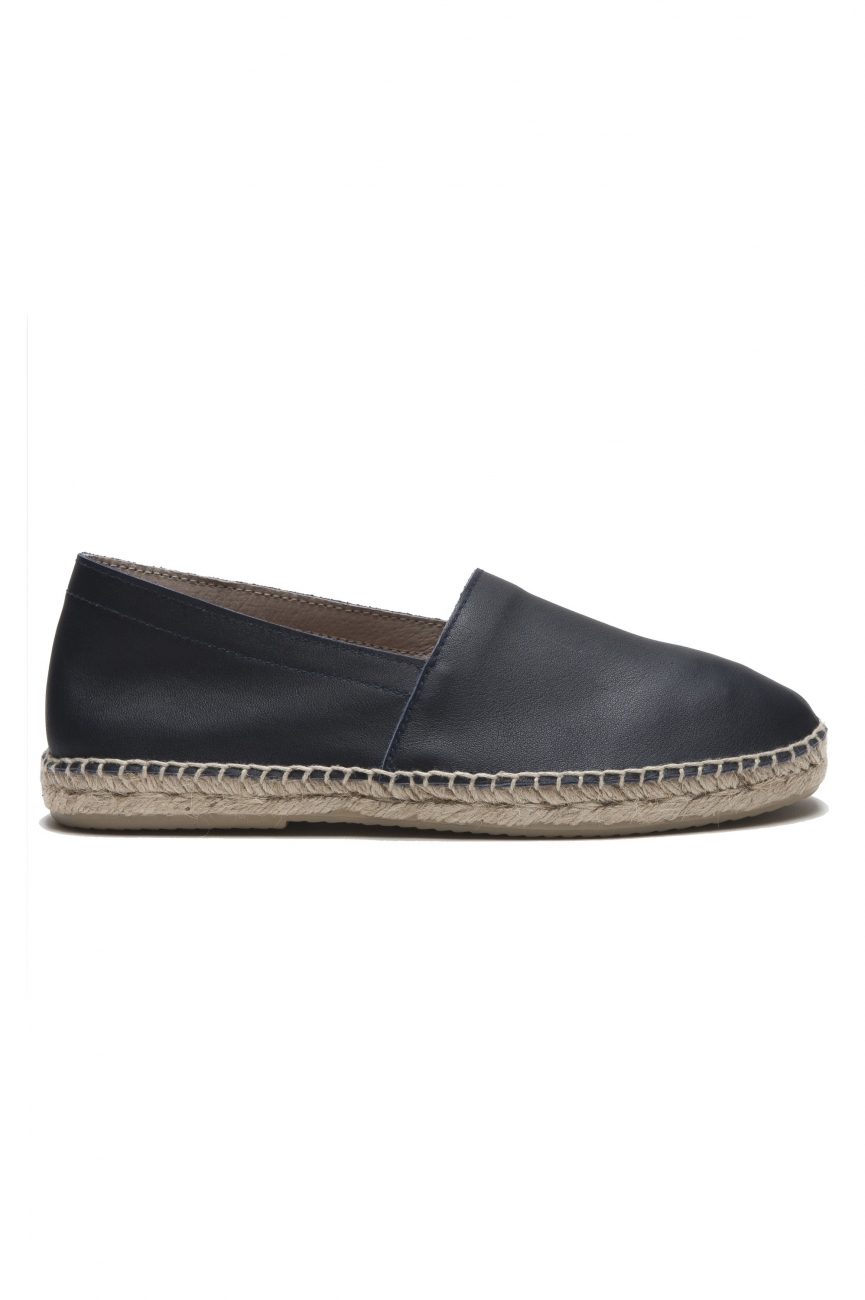 SBU 01704 Original blue leather espadrilles with rubber sole 01