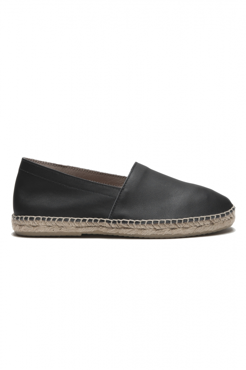 SBU 01705 Original black leather espadrilles with rubber sole 01