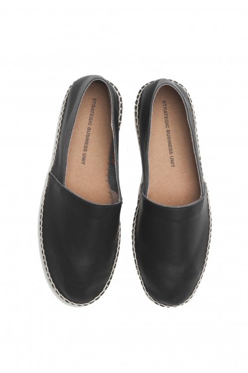 SBU 01705 Espadrilles en cuir noir d'origine avec semelle en caoutchouc 01