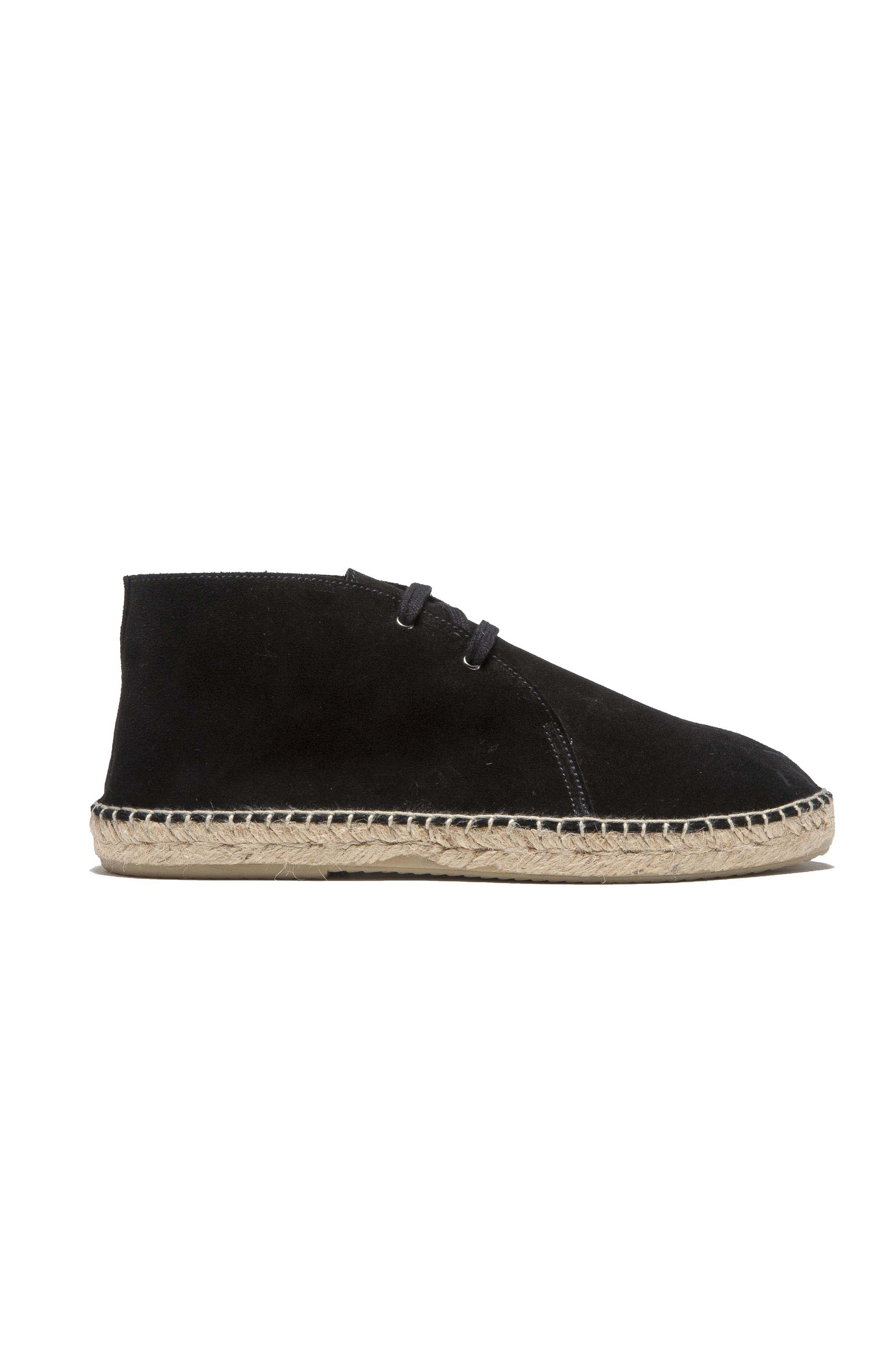 SBU 01707 Original black suede leather lace up espadrilles with rubber sole 01