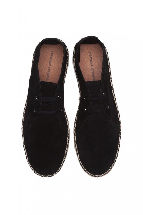 SBU 01707 Espadrilles à lacets en daim noir originales avec semelle en caoutchouc 01