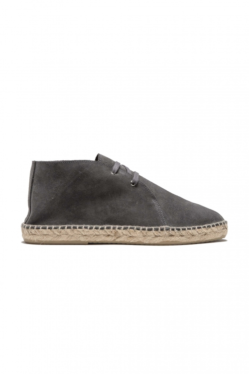 SBU 01708 Original grey suede leather lace up espadrilles with rubber sole 01