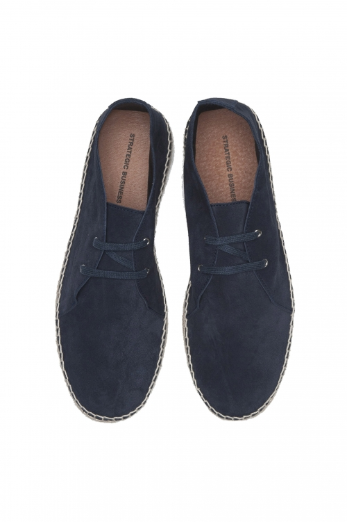 SBU 01709 Original blue suede leather lace up espadrilles with rubber sole 01