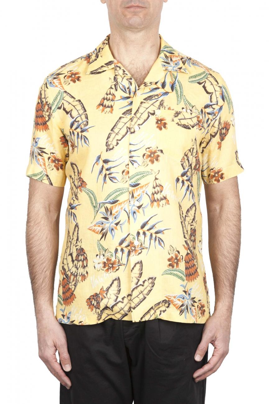 SBU 01716 Camicia hawaiana fantasia in cotone stampato gialla 01