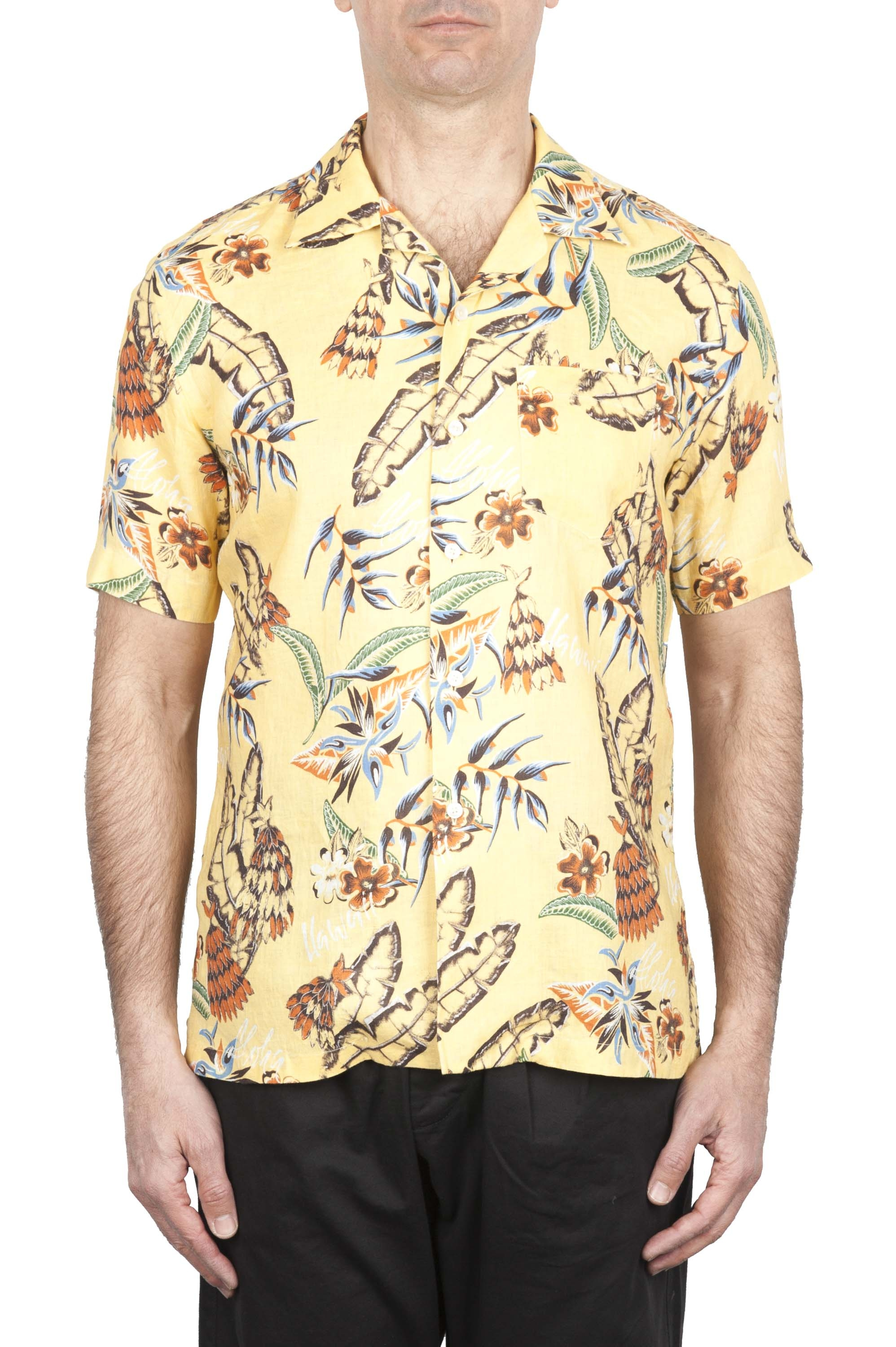 SBU 01716 Hawaiian printed pattern yellow cotton shirt 01