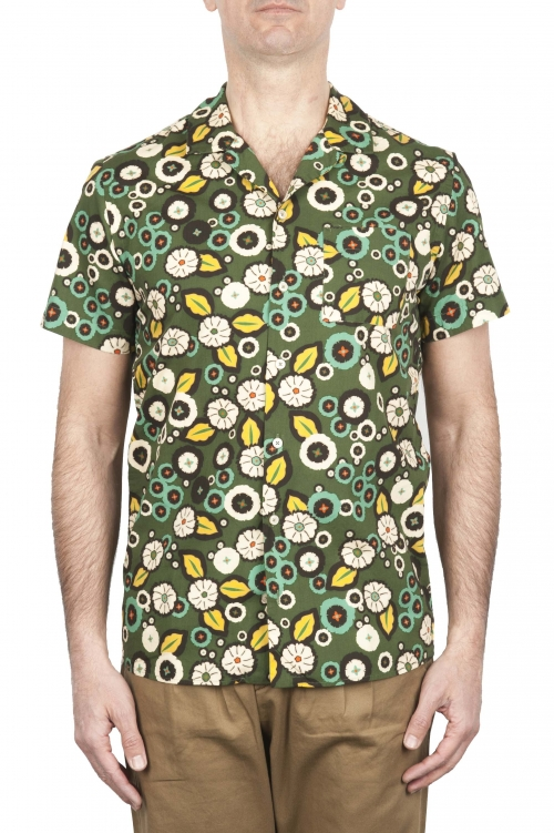 SBU 01717 Camicia hawaiana fantasia in cotone stampato verde 01