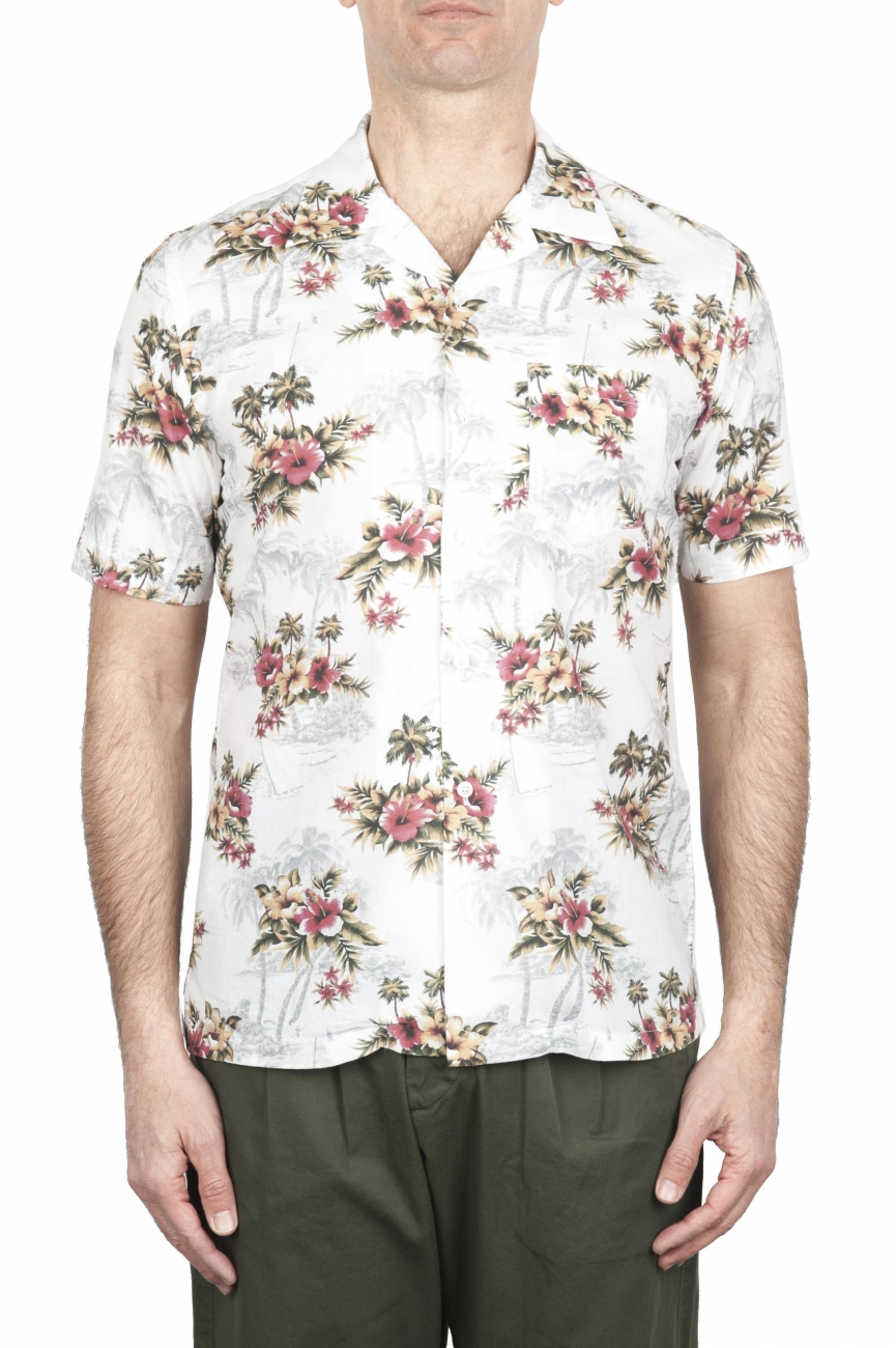 SBU 01718 Hawaiian printed pattern white cotton shirt 01