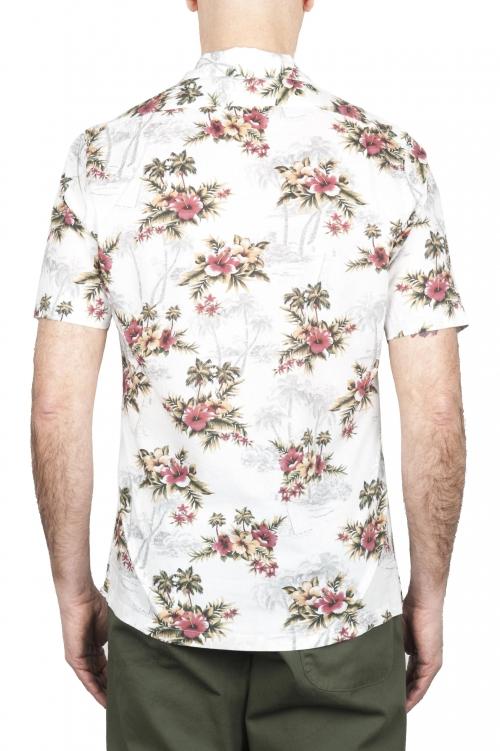 SBU 01718 ハワイアンプリント柄ホワイトコットンシャツ 01
