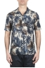SBU 01719 Hawaiian printed pattern blue cotton shirt 01