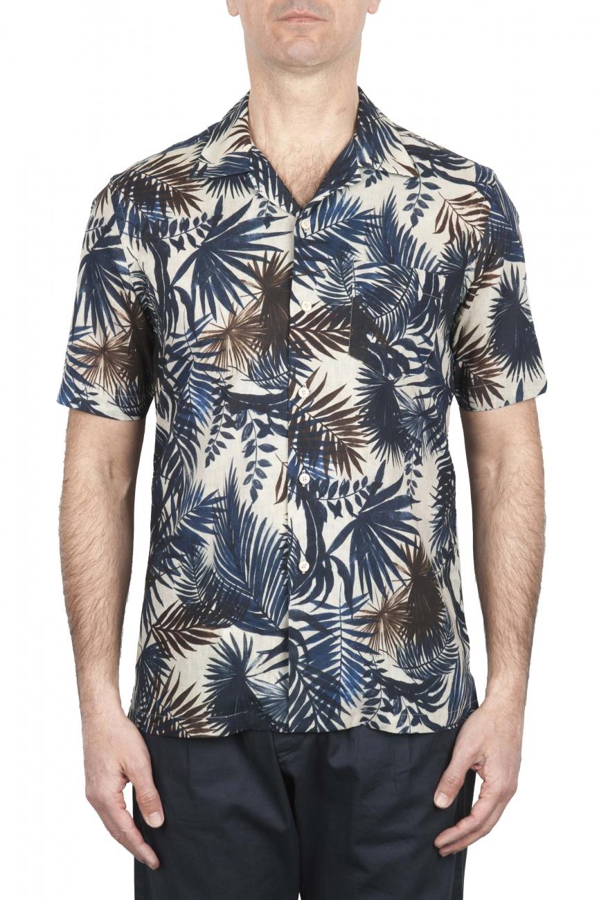 SBU 01719 Camisa hawaiana estampada de algodón azul 01