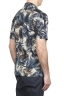 SBU 01719 Hawaiian printed pattern blue cotton shirt 04