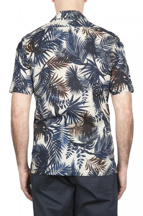 SBU 01719 Camicia hawaiana fantasia in cotone stampato blu 01