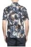 SBU 01719 Camisa hawaiana estampada de algodón azul 05