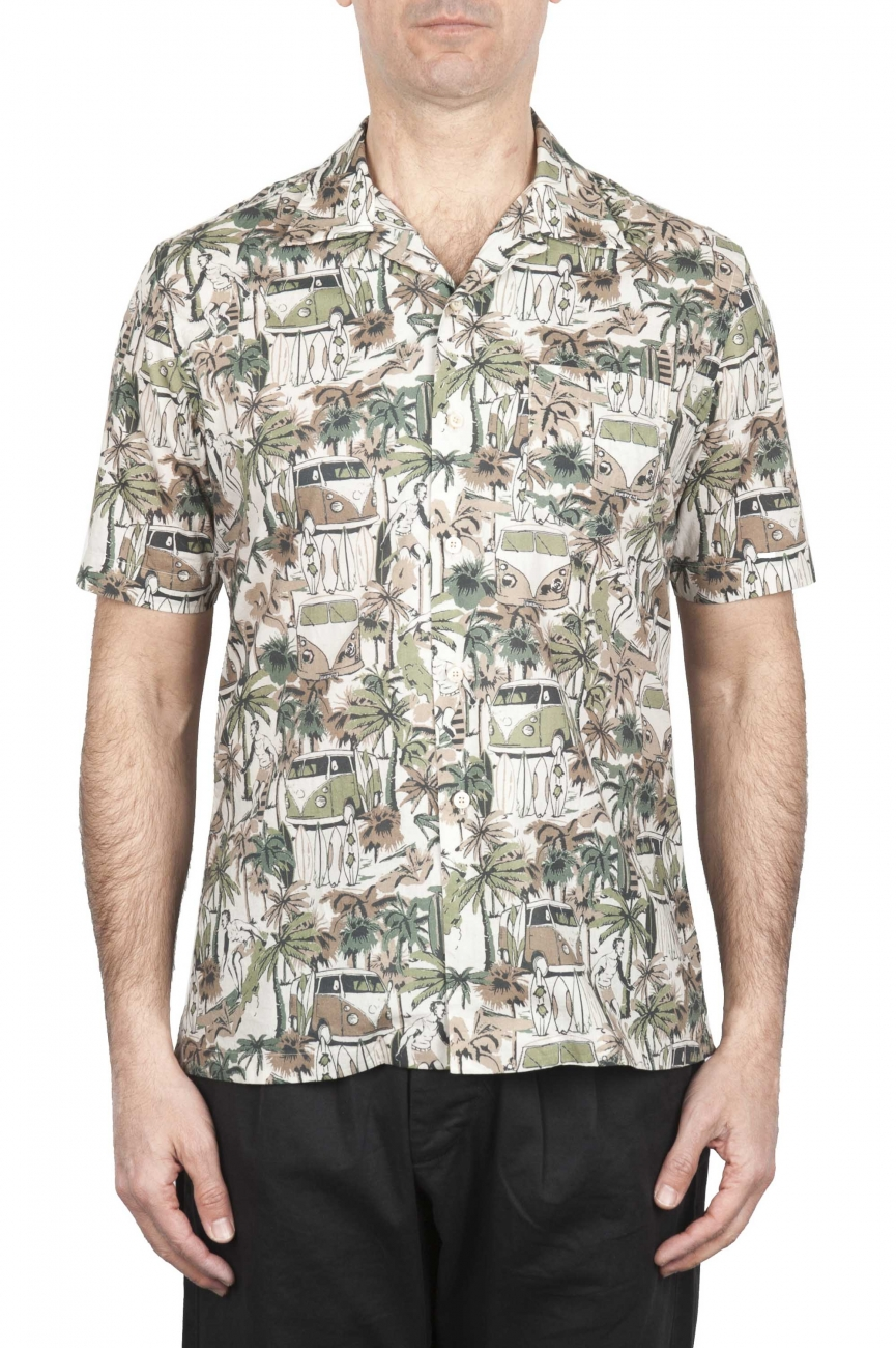 SBU 01720 Hawaiian printed pattern brown cotton shirt 01