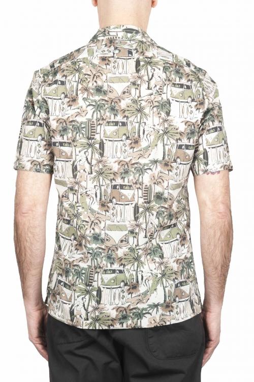 SBU 01720 ハワイアンプリント柄ブラウンコットンシャツ 01