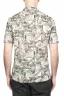 SBU 01720 Hawaiian printed pattern brown cotton shirt 05