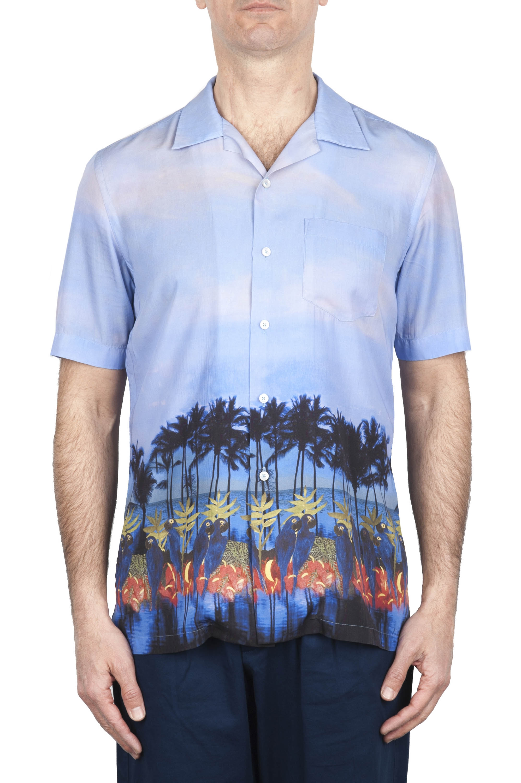 SBU 01721 Hawaiian printed pattern blue cotton shirt 01