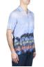 SBU 01721 Camisa hawaiana estampada de algodón azul 02