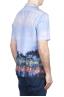 SBU 01721 Hawaiian printed pattern blue cotton shirt 04