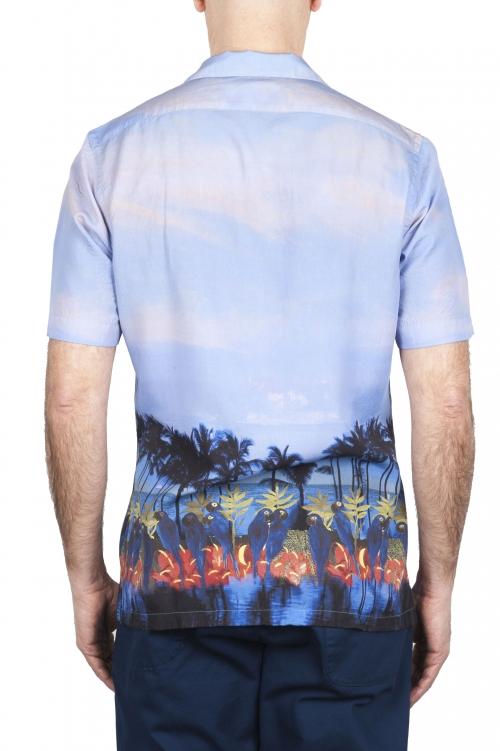 SBU 01721 Chemise en coton bleu à imprimé hawaïen 01