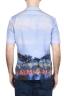 SBU 01721 Hawaiian printed pattern blue cotton shirt 05