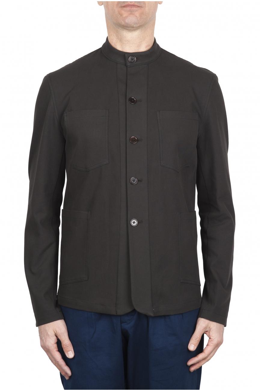SBU 01725 Mandarin collar sartorial work jacket brown 01