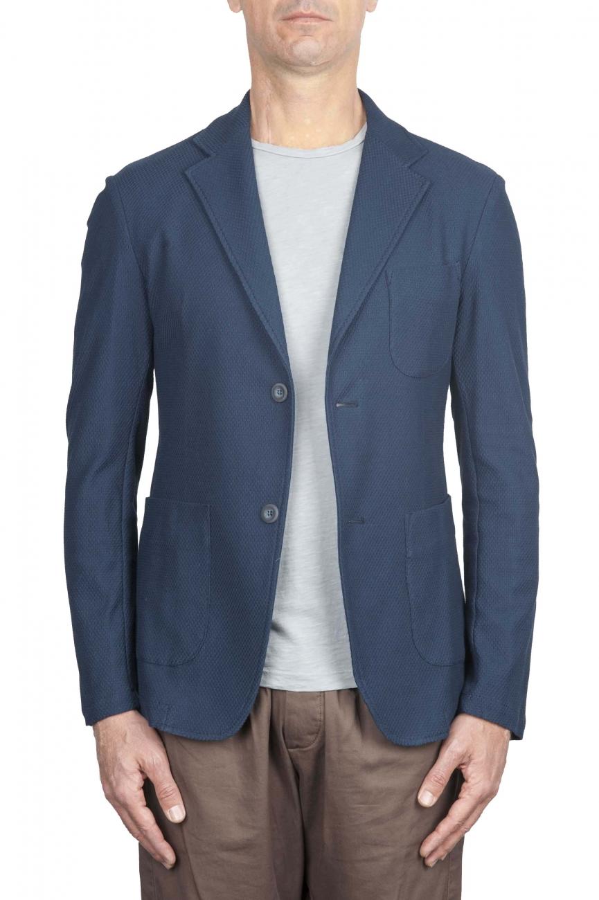 SBU 01735 Blazer en piqué de coton bleu à boutonnage simple 01