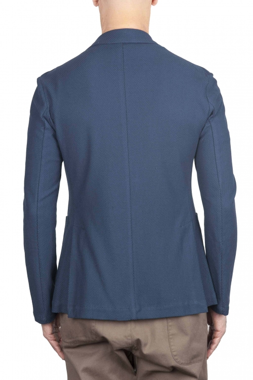 SBU 01735 Single breasted blue stretch cotton pique blazer 01