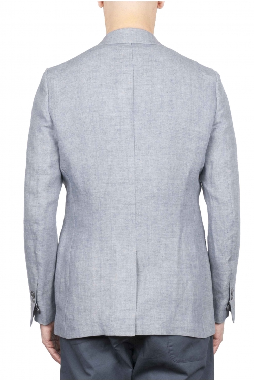SBU 01736 Single breasted dark grey linen blended blazer 01