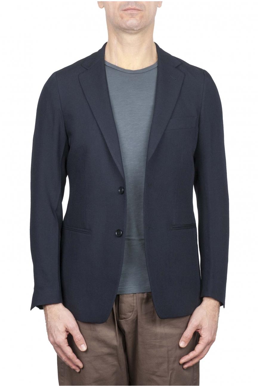 SBU 01737 Blazer de lana fresco azul de un solo pecho 01