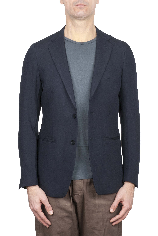 SBU 01737 Blazer en laine fraîche bleu à double boutonnage 01