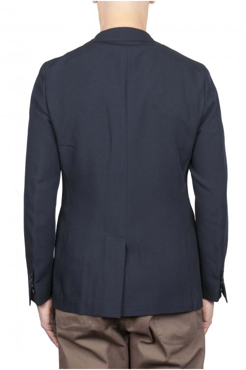 SBU 01737 Giacca classica monopetto in fresco lana blu 01