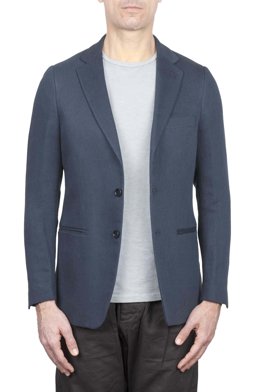 SBU 01738 Single breasted grey linen blended blazer 01
