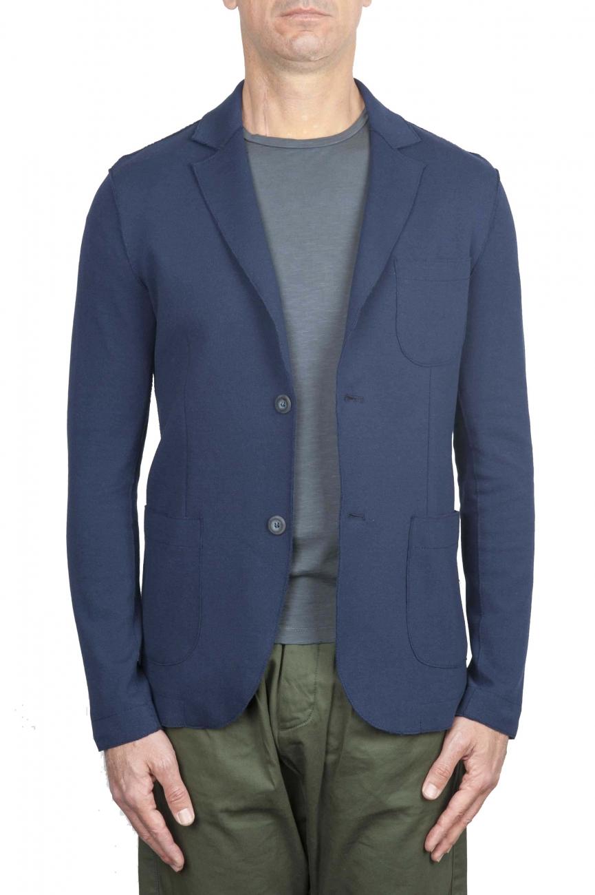 SBU 01739 Blazer en coton bleu à boutonnage simple 01
