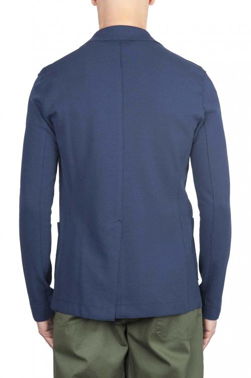 SBU 01739 Blazer en algodón elástico azul cruzado 01