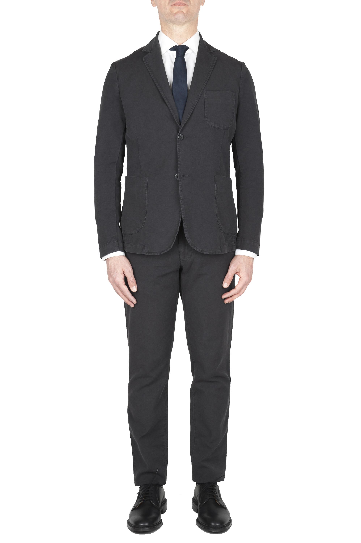 SBU 01741 Abito in cotone completo di giacca e pantalone antracite 01