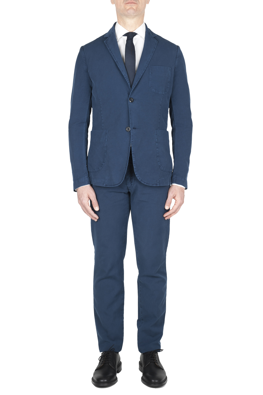 SBU 01742 Blazer y pantalón de traje deportivo de algodón azul 01