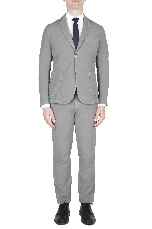 SBU 01743 Abito in cotone completo di giacca e pantalone grigio 01