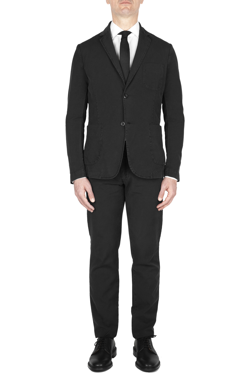 SBU 01744 Blazer y pantalón de traje deportivo de algodón negro 01
