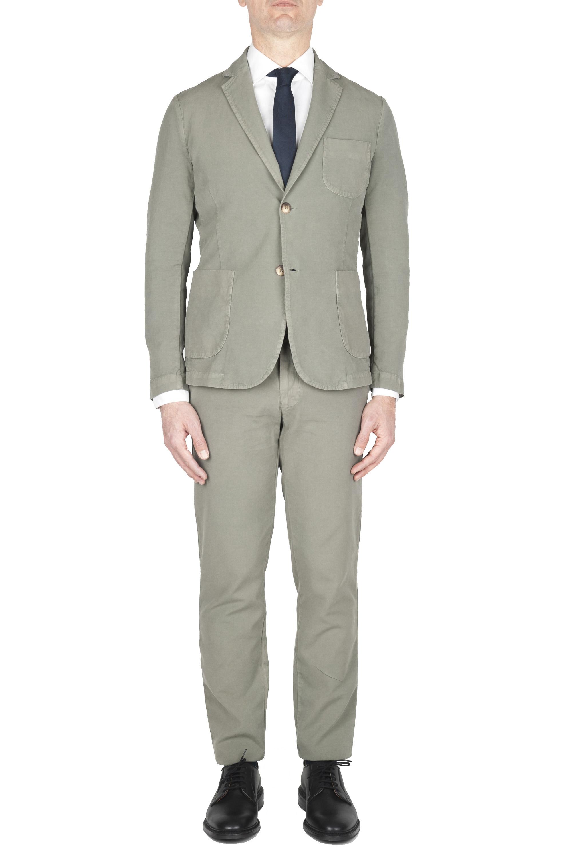 SBU 01745 Abito in cotone completo di giacca e pantalone verde 01