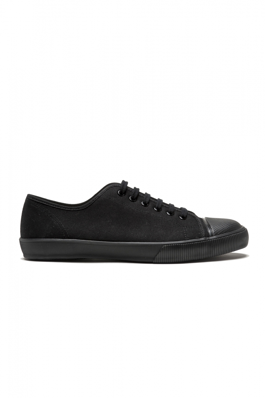 SBU 01532 Classic lace up sneakers in in black cotton canvas 01