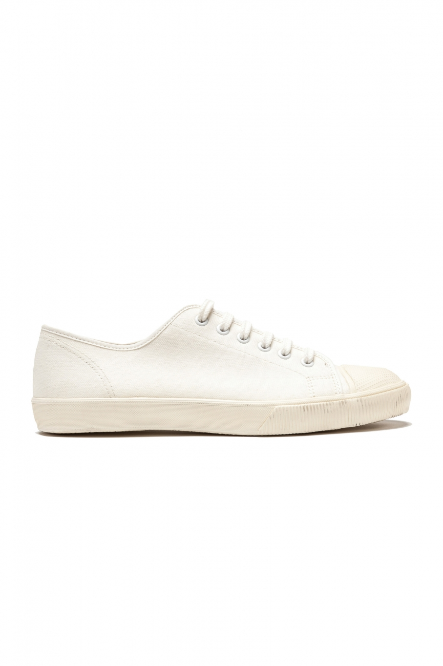 SBU 01531 Classic lace up sneakers in in white cotton canvas 01